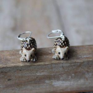 Jewelry - Like New Hand Painted Ceramic Hedgehog Earrings